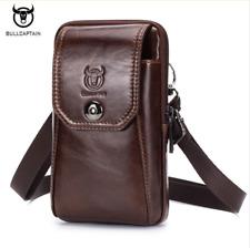 BULLCAPTAIN Leather Men Shoulder Bag Small Men Bag Vintage Casual Messenger Bag