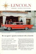 1950s Vintage print ad Car Lincoln Premiere Landau at the Carlyle Hotel New York
