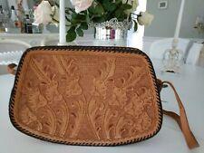 Vintage  Handmade Hand Tooled Floral LEATHER Handbag Purse Hippie Boho