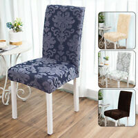 Spandex Stretch Dining Room Chair Cover Floral Jacquard Print Seat Covers Decor