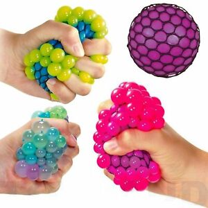 SQUISHY MESH GEL BEADS BALL Squeeze Net Stress Relief Kids Toy Gift UK