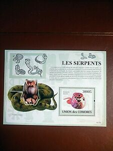 BLOC NEUF SERPENTS COMORES 2009 - MINT SHEET SNAKES COMOROS 2009
