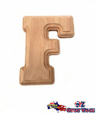 "Small Oak Wood Alphabet Letter ""F"" Natural Brown Uppercase Home Decor Art Craft"