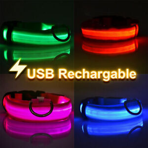 Light up LED Dog Collar Adjustable USB Rechargeable Pet Safety Luminous UK STOCK