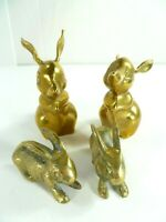 Lot of 4 Vintage Rabbit Bunnies Gold Brass Statue Figurines Metal Art