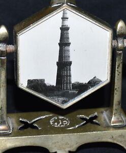 Vintage India Brass Surma Bottle With Pair Vanity Mirrors Qutb Minar, New Delhi