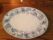 "BLUE PAISLEY CHINA PLATTER 16"" NEW WITH TAG"