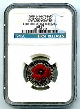 2015 CANADA 25 CENT NGC MS67 POPPY FLANDERS FIELDS REMEMBRANCE QUARTER COLORIZED