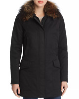 $1850 Postcard Women'S Barwa Black Fur Trim Parka Coat Jacket Winter Size 42