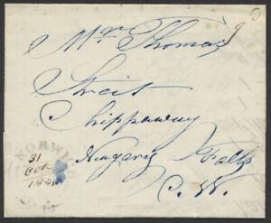 1845 SFL, Norwich (Oxford Cty) UC to Chippawa via Queenston, 9d Rate Unpaid