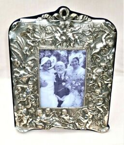 LARGE VICTORIAN STYLE SILVER PICTURE PHOTOGRAPH FRAME – CHERUBS