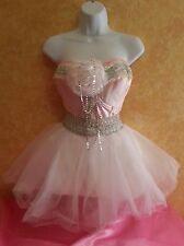 SEXY BRAND NEW PINK & WHITE PRINCESS TULLE TUTU CORSET MINI DRESS BRIDAL WEDDING