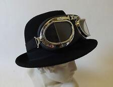 New Victorian Fantasy Industrial Steampunk Wool Felt Black Trilby Hat Goggles