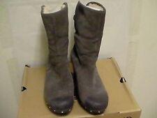Damen Ugg Lynnea Holz Holzschuhe Stiefel Grau Leder Größe UK 11