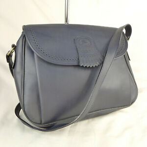 Authentic Vintage Burberry Navy Leather Small Crossbody Messenger Shoulder Bag