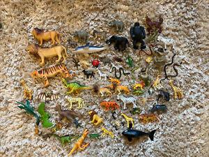 Large Bundle Toy Animals Bugs Dinosaurs Figures 60+
