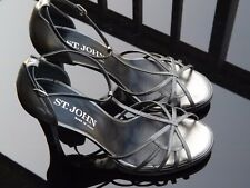 ST. JOHN Womens Metallic Gray Stiletto Strappy Peep Toe Pump Sz 9B Made In Italy