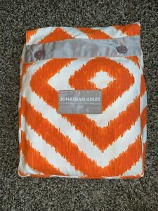 "Jonathan Adler Geometric Fabric Shower Curtain Orange, White w/ Gray Trim 72x72"""