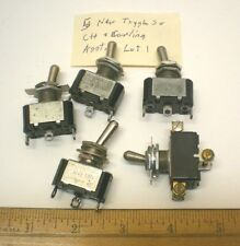 5 New Toggle Switches, 1 DPDT, 4 SPDT, Solder Terminals, CARLING, Mexico, Lot 1