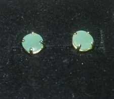 GENUINE EMERALD STUD EARRINGS 14K YG OVER 925 STERLINGS SILVER