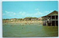 Savannah Beach Georgia GA Pier Beach Swimming Vintage Postcard D40