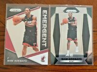 2017-18 Panini Prizm Bam Adebayo 2 Card Rookie LOT Base + Emergent Miami Heat