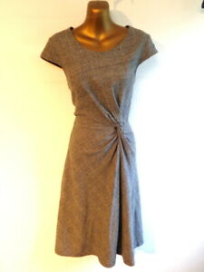 Phase Eight 10 Wool mix checked twist front A line cap sleeve dress (3428