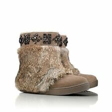 NIB TORY BURCH DALTON FLAT BOOTIE Booties Boots Rabbit fur LIGHT BROWN 6 M