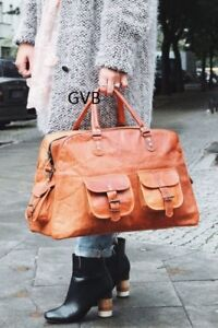 """16"""" women's Vintage Brown Real Leather Luggage Duffel Gym Overnight Weekend Bag"""