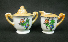 Vintage Lusterware Hand Painted Childs Toy Dish Tea Set Petite Sugar & Creamer