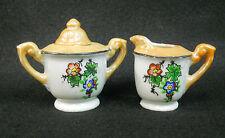 Vintage Lusterware Hand Painted Childs Toy Dish Tea Set Petite Sugar & Creamer
