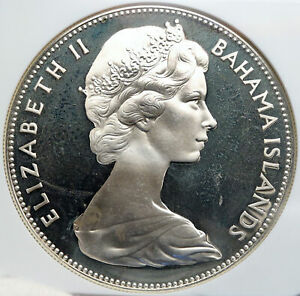 1970 BAHAMAS Large PIRATE DEFEAT MOTTO Proof Silver 5 Dollars Coin NGC i87827