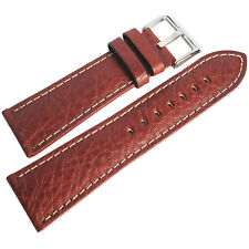 22mm Hadley-Roma MS906 Mens Tan Leather Contrast Stitched Watch Band Strap