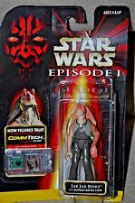STAR WARS EPISODE 1 JAR JAR BINKS WITH GUNGAN BATTLE STAFF COMMTECH CHIP MOSC