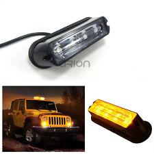 Super Bright 4 LED Waterproof Car Truck Strobe Flash Light DRL Amber 12/24V
