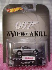 2015 Hot Wheels Retro CORVETTE☆Silver☆James Bond☆007 View to A Kill☆Real Riders