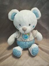 Doudou ours bleu blanc beige marron mots d'enfants pois poule étoile Leclerc neu
