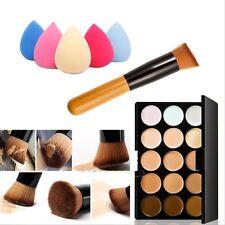 Makeup Contour Face Cream Concealer Palette+Sponge Puff+Powder Brush 15 Colors