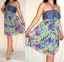 Knee Length Chiffon Halterneck Sundresses for Women