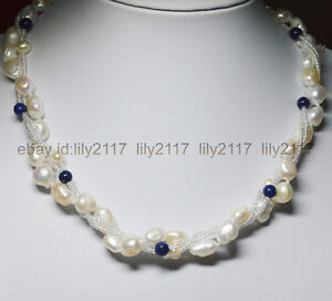 Exquisite 3 Rows white baroque cultured pearl & blue lapis lazuli gems necklace
