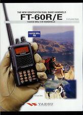 Yaesu FT-60R/E 144//430 MHz 5W Handheld HAM Radio Orig Factory Dealer Brochure