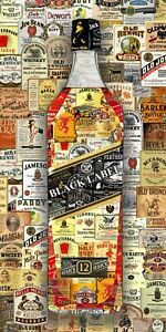 Art Collage Poster Whiskey Black Label Print Made Out Of Liquor Labels Recycling