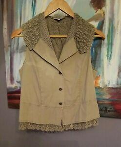 Noa Noa Women's Size M Vest Khaki Lace 100% cotton Top Sleeveless Damaged