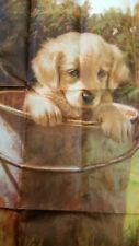 """Puppy Dog In Bucket Large House Flag - 25"""" x 37"""" - Country Summer"""