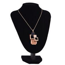 Necklace Hollow Geometric Big Crystal Rhinestone Pendant Romantic Jewelry Chic Grey