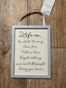 """Brand New Next """"Life is ....."""" Inspirational Hanging Decoration"""