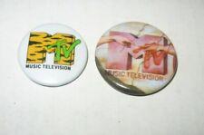 2 Lot Vintage Mtv Music Television Pins Buttons Tiger Print Michelangelo