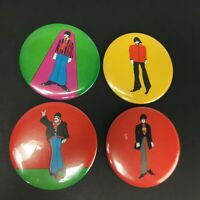 Vintage The Beatles Pin Back Button Lot of 4 Yellow Submarine Primrose 1968 3.5""