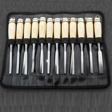 12Pcs Wood Carving Hand Chisel Tools Kit Carpenters Professional Lathe Gouge HOT