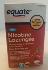 Equate Mini Nicotine Lozenges, Cherry Ice Flavor,  2mg, 1 Box of 108.